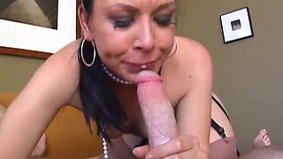 Julie Night blows and gets her mouth filled with jizz