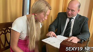 Gal is having hardcore couch sex with hungry elderly teacher