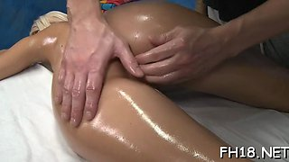 This curvy blonde doll is treated with an oiled massage and she rewarded a masseur with a blowjob