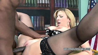 Mature slut Sara Jay is in her office and getting fucked