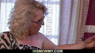 Horny granny awakes her son\'s GF