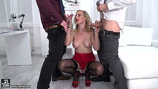 Whorish office chick Helena Valentine is fucked by boss and one new employee