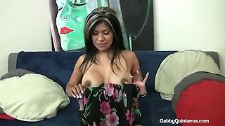 Meximilf gabby quinteros mouth fucks &amp pussy pounds a cock!