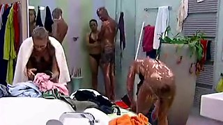 Big Brother NL Hot Blonde college girl Girl shower after wrestling