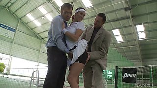 She goes in for a tennis lesson and ends up getting double penetrated