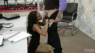 sexy asian secretary asa akira fucks her boss right in an office