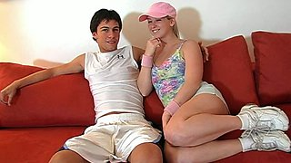 College chick Sunny Lane gets horny for her male friend
