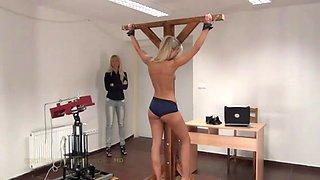Miela&#39s spanking machine back whipping