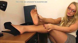 secretary nylon feet