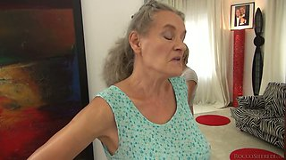 Short haired gal Tricia Teen fucks a granny and a horny man in 3some