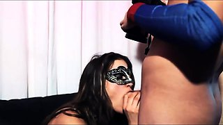 Masked brunette in stockings has a passion for hard meat