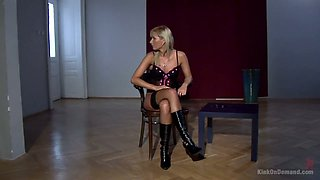 Whorish mistress in stockings and corset Kelly makes one slut lick her pussy