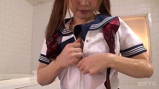 Miko Hinamori is an oiled up schoolgirl who cannot resist a boner