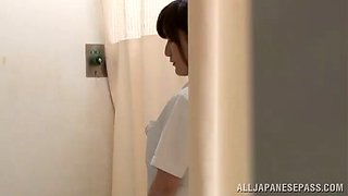 sexy asian nurse gives a blowjob and gets screwed hardcore