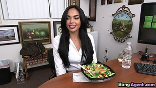 Latina big tits secretary table hardcore fucking with the boss