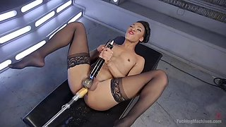 no man can satisfy nikki darling's black squirting pussy like a high-tech fucking machine