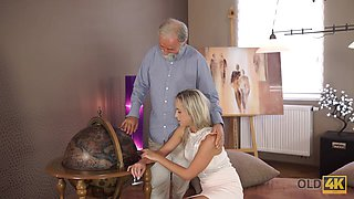 OLD4K. Enticing blonde with ease seduces her old geography teacher