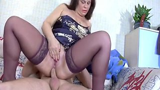 Mama in stockings anal fck and Hawt Granny in nylons