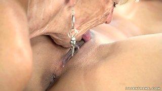 Old nanny Malya enjoys eating fresh pussy of naughty lesbian nextdoor girl