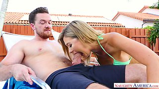 Lewd blonde in bikini Addison Lee gets intimate with one horny dude by the poolside