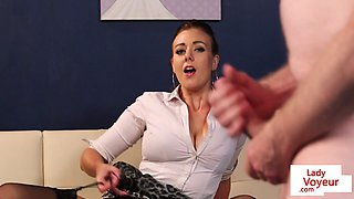 British babe humiliates tugging guy