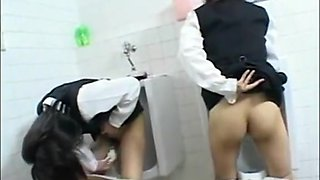 Asian schoolgirls are having fun in man's toilet