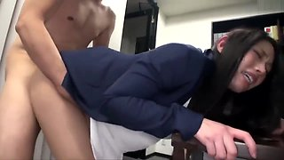 Sexy Asian Secretary in Pantyhose and High Heels Molested