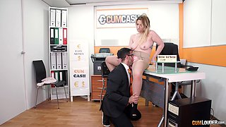 Curvy Lucia Fernandez deep throats and swallows cum in the office