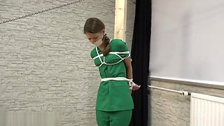 Nurse in Scrubs is Bound, Gagged, Blindfolded