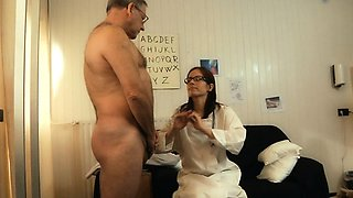 Oldman fucks young medical assistant