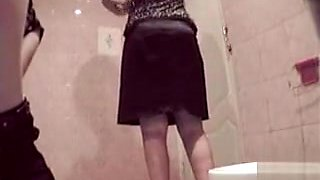 European ladies caught by hidden cam in the public toilet