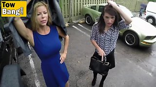 busty cougar alexis fawx pays car tow service with blowjob