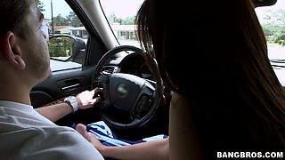 Delightful brunette bitch Jazmyn jerks hard dick in car