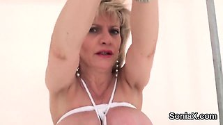Unfaithful british milf lady sonia flashes her monster natur