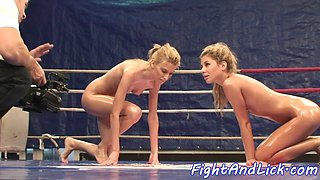 Wrestling lezzies covered in oil