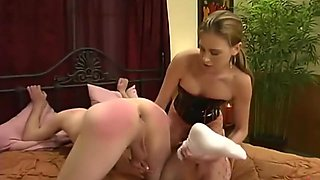 Hot babe and her slave boy