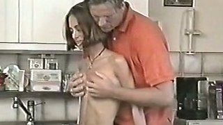 Cute and skinny white chick in the kitchen sucks dick