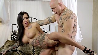 Tattooed whore wife Lily Lane is cheating on her husband with bald headed pool boy