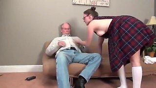 70 yo owner of apartment seduces and fucks innocent bitch