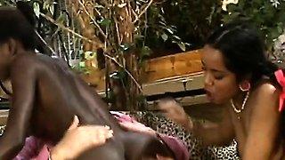 Older mates fucking hard two African sluts