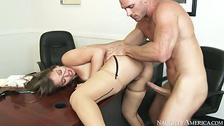 Bald headed boss Johnny Sins fucks appetizing butt of sweet secretary Dani Daniels