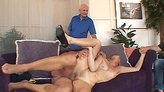 Sexy blonde is happy to get naked for a cock during a cuckold game