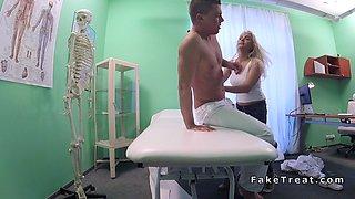 Doctor bangs busty blonde masseuse