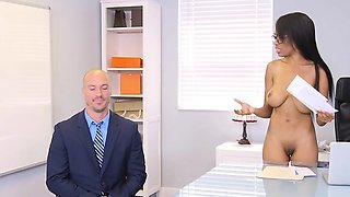 Busty Boss Brittney White Plays With Employees Cock